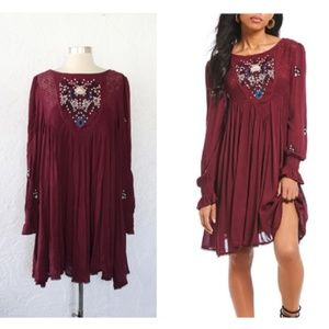 NWT Free People Mohave Embroidered Mini Dress M